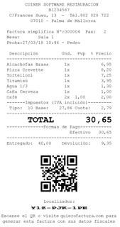 Ejemplo de ticket con el QR y localizador para que el cliente emita su factura con sus datos en quierofactura.com
