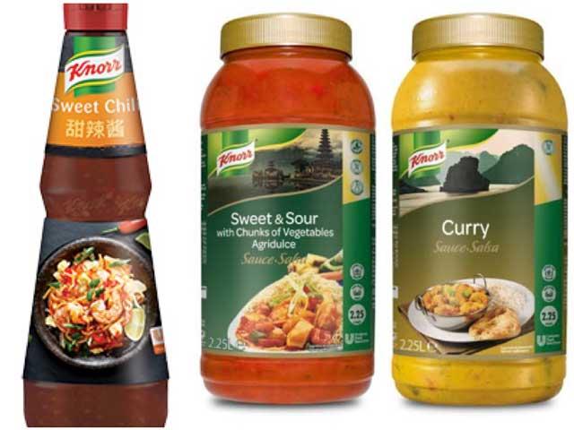 Sweet Chili, Salsa agridulce y Salsa de curry amarillo, de Knorr