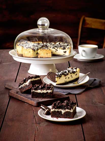 La tarta Cookies & Cream Cheesecake Supreme (arriba) y el Cookies & Cream Brownie (debajo), de Erlenbacher