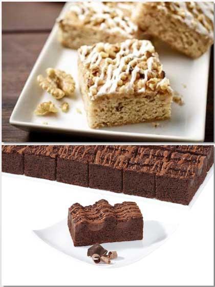 Maple Walnuts Blondie, arriba, y Plancha de chocolate doble, debajo