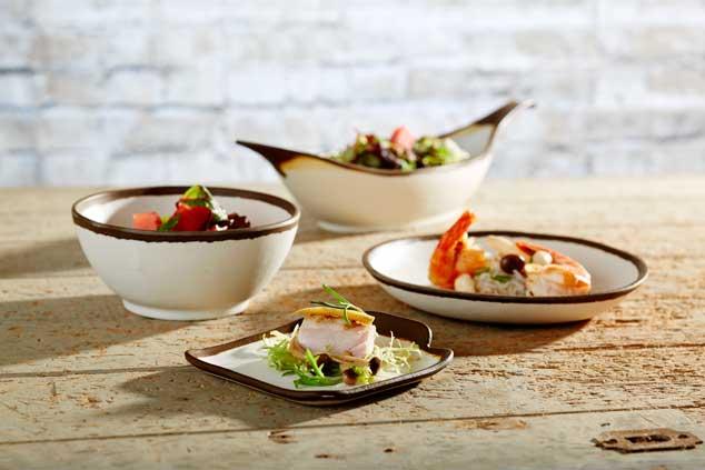 Conjunto de boles y platos mini, perfectos para tapas y aperitivos, realizado en melamina. De Klimer