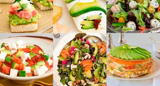 """Algunas de las recetas del libro """"El maravilloso mundo de la cocina con aguacates"""","""
