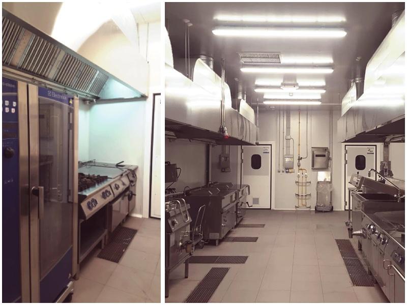 Equipos de cocción de la cocina central de Compass Group en Tenerife