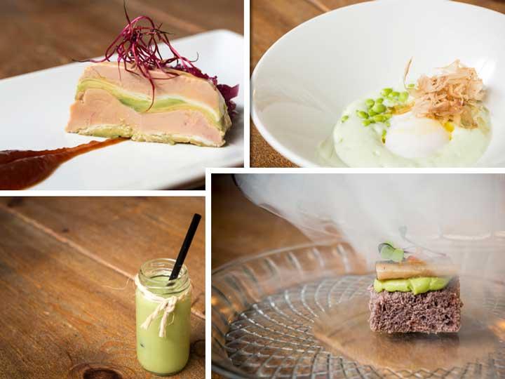 Cuatro de los platos del menú degustación elaborado por Dani García, todos ellos con aguacate
