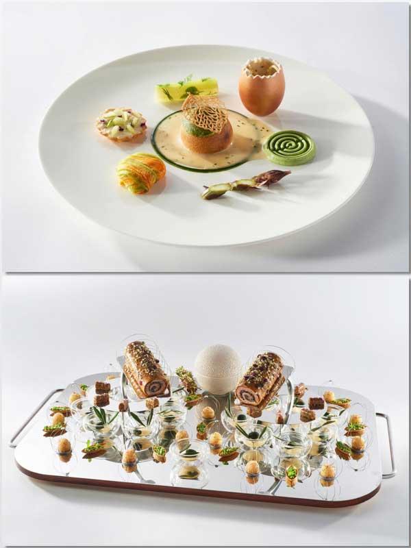 El plato individual y la bandeja realizados por los representantes españoles, Juan Manuel Salgado y Adrià Viladomat