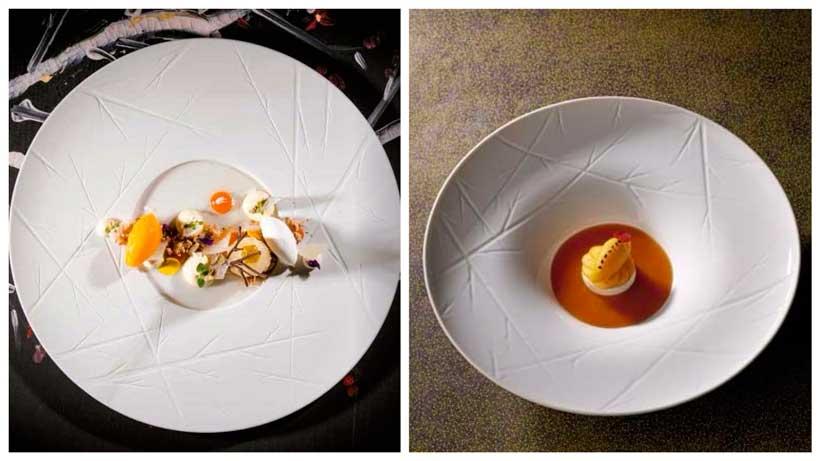 Platos de la vajilla Natura, del chef portugués Vítor Matos, del restaurante Antiqvvm de Oporto (1*), dentro de la Chef's Collection de Vista Alegre