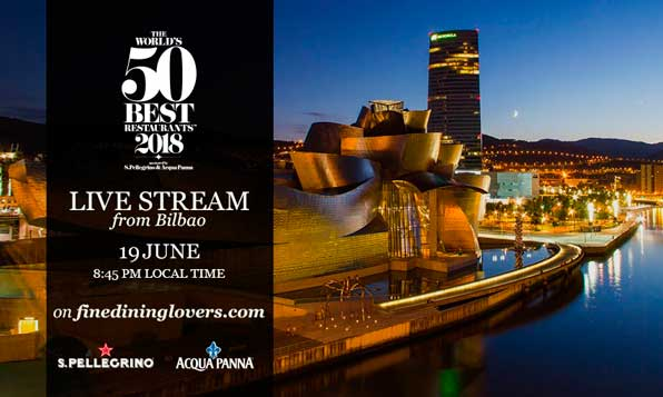 Cartel de The World's 50 Best Restaurants en Bilbao, 2018