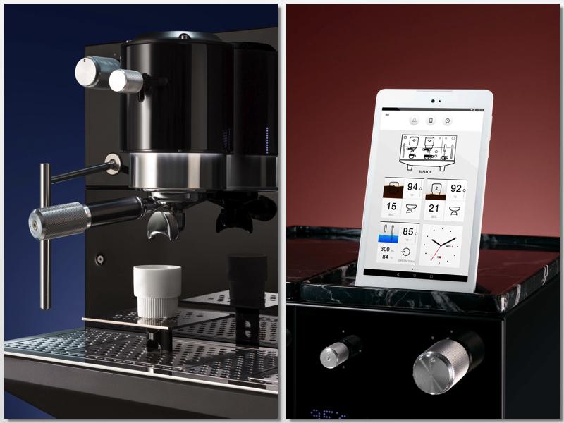 Detalle y tablet de la máquina de café Vision