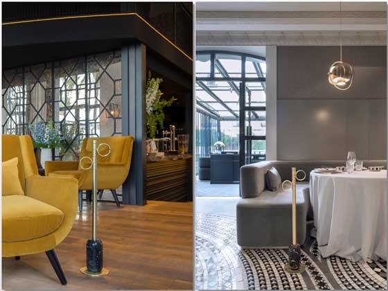 A la izda., un varlet en el hotel The Serras de Barcelona. A la derecha, otro en la sala del restaurante Ramón Freixa, en Madrid