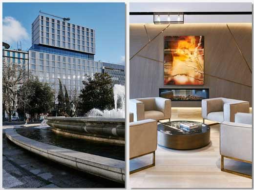 La fachada del hotel VP Plaza España y un rincón del lobby presidido por un cuadro del artista bilbaíno Darío Urzay