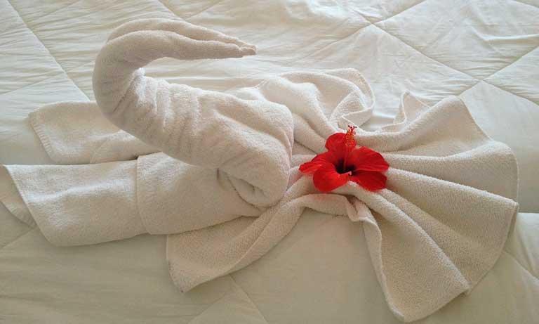 Toallas en una cama de hotel