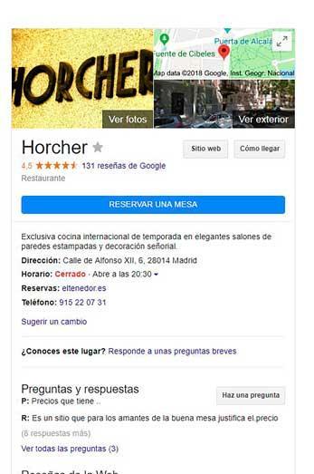 reserva- restaurante- Horcher - Google - ElTenedor - profesionalhoreca