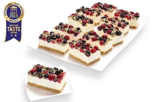 Profesionalhoreca, tarta Erlenbacher, Rectángulos de frutos del bosque y skyr, sin gluten