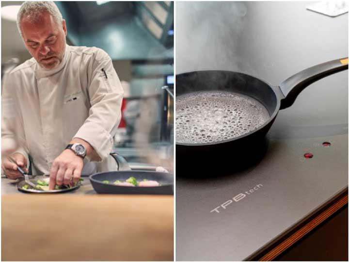 Profesionalhoreca, Xavier Pellicer cocinando sobre la encimera con inducción integrada de TPB Tech
