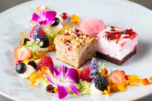 Profesionalhoreca, postre vegano Mar de flores, con tartas de Erlenbacher