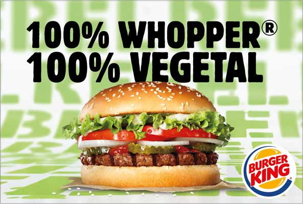 Profesionalhoreca. hamburguesa  sin carne The Rebe Whopper, 100% vegetal, de Burger King