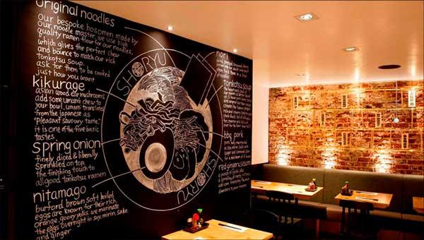 Profsionalhoreca, pared de vinilo impreso en restaurante, de Sabaté