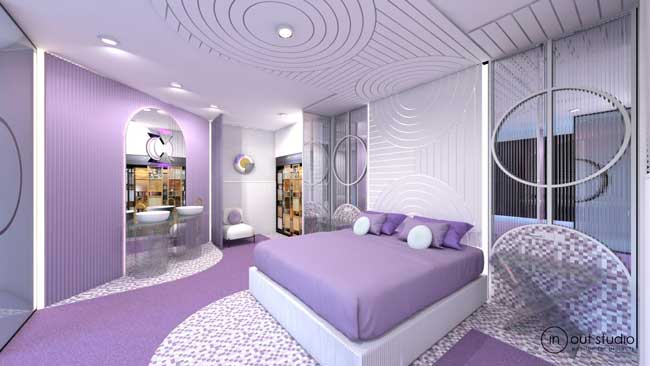Profesionalhoreca. habitación de hotel com revestimientos murales 3D de Orac Decor en Interihotel BCN 2019