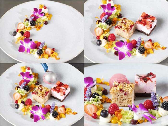 Profesionalhoreca, elaboración del postre vegano Mar de flores, con tartas de Erlenbacher