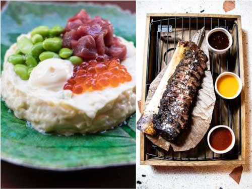 Profesionalhoreca, restaurante Le Club Sushita, Ensaladilla rusa de tartar de atún rojo, y la Costilla de ternera a la parrilla Josper