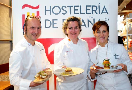profesionalhoreca, Los chefs Joaquín Felipe, Pepa Muñoz  y Teresa Carles, con sus tapas sostenibles