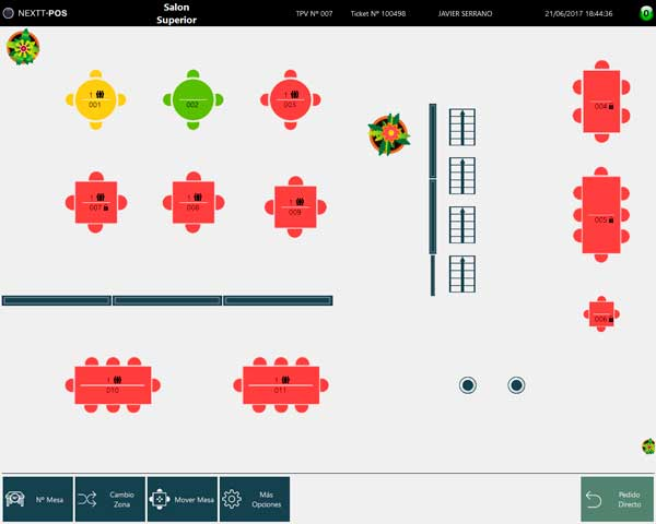 Profesionalhoreca, software TPV hostelería de Nextt, configuración de mesas