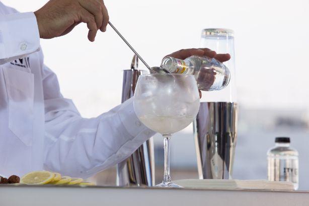 profesionalhoreca, preparación de un gin-tonic con hielo