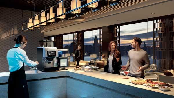 Profesionalhoreca, máquina Kalea Plus sobre una barra de bar