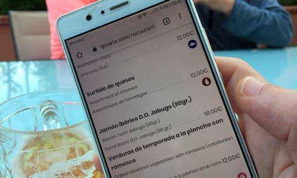 profesionalhoreca, carta digital de QR Carta en el móvil