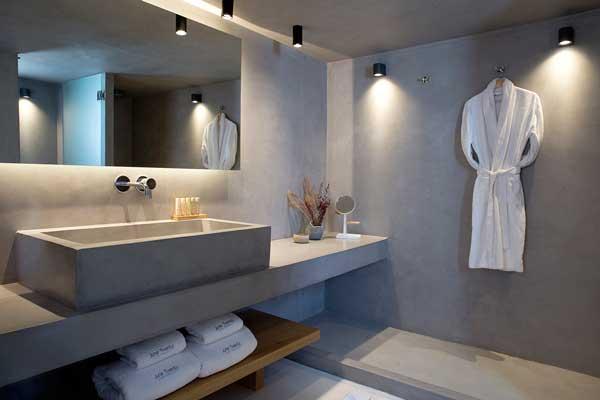 Profesionalhoreca, baño de hotel realizado íntegramente en Eco Cement, sin juntas