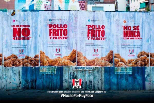 Profesionalhoreca, Carteles con reseñas negativas de KFC que forman parte de la campaña #MuchoPorMuyPoco