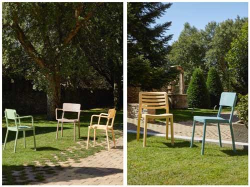 Profesionalhoreca, sillas Green Edition de Resol. Sillas Lisboa con brazos en varios colores, y sillas Wind y Lisboa sin brazos