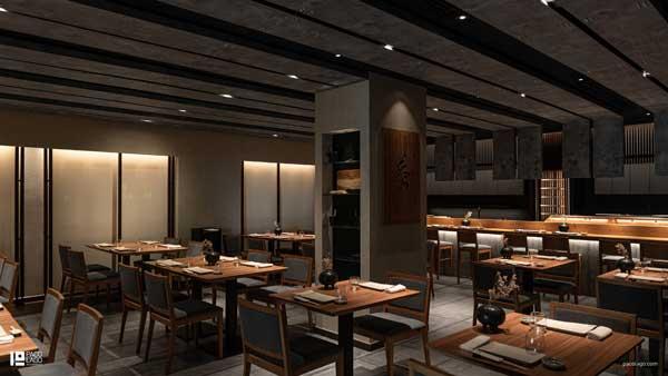 Profesionalhoreca, sala del restaurante Ta-Kumi de Marbella, proyecto del estudio Paco Lago