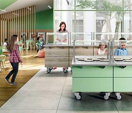 Profesionalhoreca, Módulos Flexy Line en dos alturas, para centros escolares