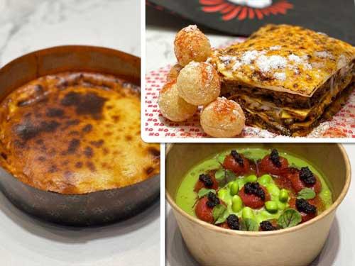 Profesionalhoreca, Platos de Goxo para delivery: Tarta de queso de la Pedroche, Lasaña Mumbai y gazpacho de tomates verdes