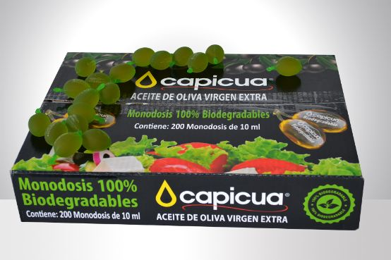 Profesionalhoreca, caja de monodosis biodegradables de aceite de oliva virgen extra Capicua