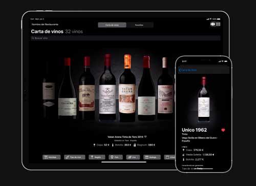 Profesionalhoreca, carta de vinos Winerim en tablet y en móvil