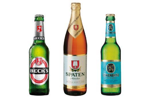 Profesionalhoreca. botellines de cerveza Beck's, Spaten y Löwenbräu