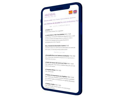 Profesionalhoreca, carta dinámica de DymanEat en el móvil, para el Grupo Arzábal