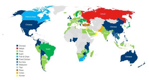 Profesionalhoreca, mapa de los platos de delivery preferidos según cada país