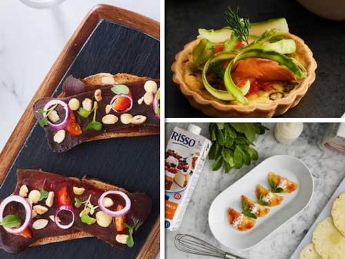 Profesionalhoreca, recetas Risso para un drucnh: mojama con almendra y cebolla, mini quiche de esárragos con salmón, y de postre, raviolis con carpaccio de piña