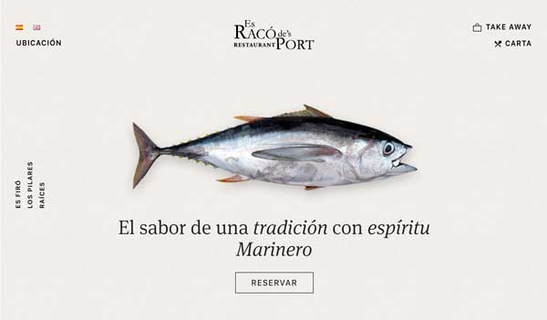 Profesionalhoreca, home de la web del restaurante Es Racó de's Port, diseñada por Pom Standard