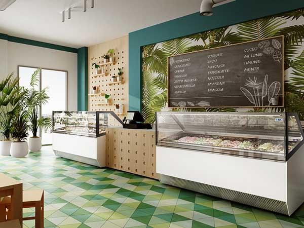 Profesionalhoreca. vitrina para heladería y pastelería New Millenium con gas R290 en un establecimiento