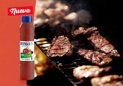 Profesionalhoreca, salsa barbacoa Risso con carne a la brasa