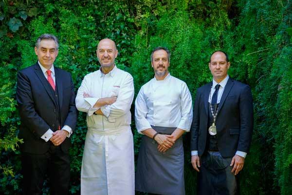 Profesionalhoreca, equipo al frente del nuevo Zalacaín: Ronerto Jiménez (maitre), Iñigo Urrechu (director gastronómico), Jorge Losa (jefe de cocina) y Raúl Revilla, sumiller