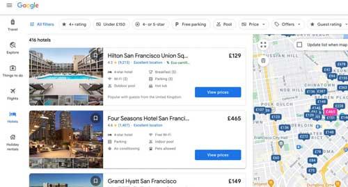 Profesionalhoreca, resultado de bísqueda de hoteles en Google