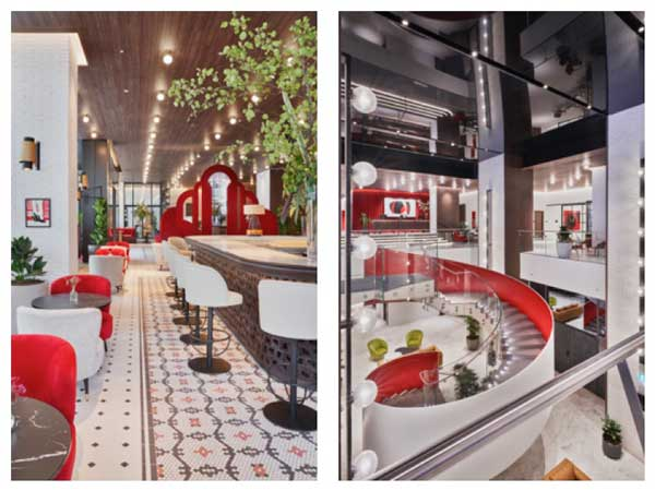 Profesionalhoreca, detalle del bar y del lobby del hotel Canopy by Hilton Madrid Castellana